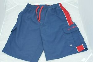 Beverly-Hills-Polo-Club-Men-Large-Blue-Red-Board-Swim-Trunks-Swim-Shorts