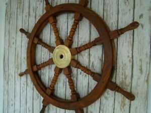 """Nautical 36/"""" Wooden Ship Wheel Steering Brass Ring Wall Antique Vintage Decor"""