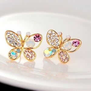 cc23cbe4e Details about 1 Pair Ladies Chic Lovely Crystal Rhinestone Hollow Butterfly  Ear Stud Earrings
