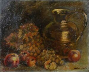 Antique-Oil-on-Canvas-Still-Life-with-Fruit-D-039-Fall-and-Copper-Signature