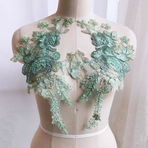 1 Pair Lace Applique Flower Embroidery Beads Sequins Wedding Dress Bridal Patch