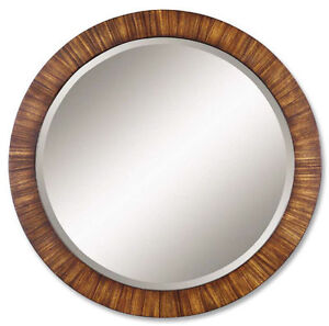 Zebra wood round wall mirror 36 d beveled golden maple for Extra large round mirror