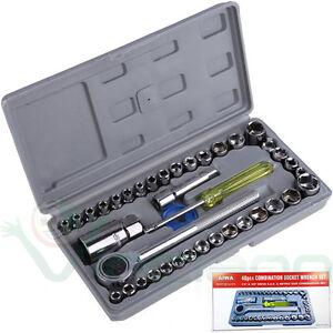Kit-40-chiavi-bussola-chiave-cricchetto-tubo-AIWA-pollici-set-esagonale-acciaio