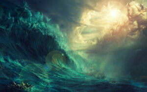 Modern Home Decorationr Art Fantasy Poseidon oil painting HD Printed on canvas