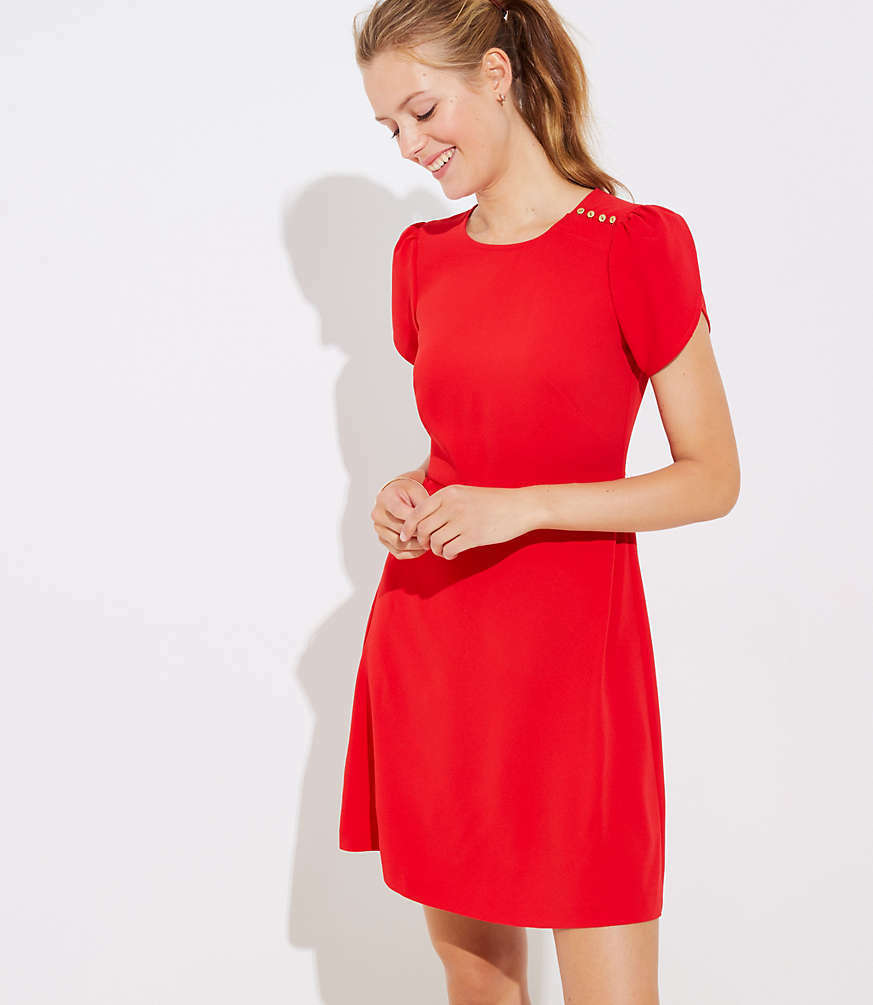 NWT NWT NWT LOFT Women's Tall Shoulder Button Flare Dress - Vivid Red - Size 8T d62254