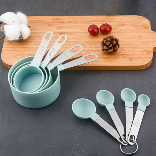 8Pcs Measuring Cups Spoons Set Baking Cooking Kitchen Tools Tea Coffee Home Kit