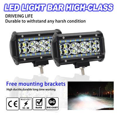 2X 5inch  LED Work Light Bar Flood Lamp Off Road Diving 4WD Car 168W