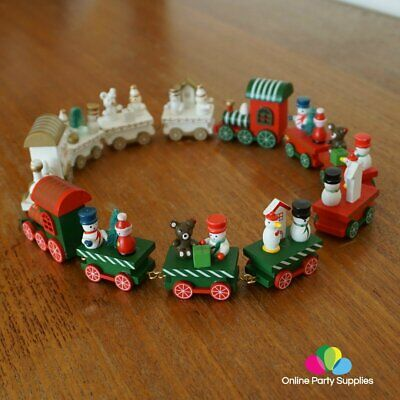 Christmas Small Wooden Train Xmas Children Kids Light Tree Gift Party Decor H