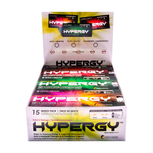 HYPERGY Mixed-Pack Box Natural Energy Supplement Caffeine Gummy 3flvr 15pk 90pcs