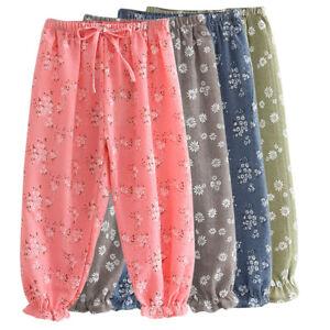 Kids-Children-Girls-Cotton-Linen-Pants-Trousers-Flower-Print-Bloomers-Clothes