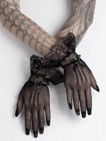 Short Black Mesh Gloves Fishnet Lace Bows Gothic Wedding Victorian Lolita