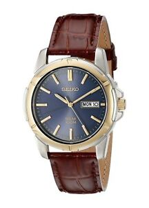 Seiko-SNE102-Solar-Men-039-s-Dress-Blue-Dial-Stainless-Steel-Brown-Leather-Watch