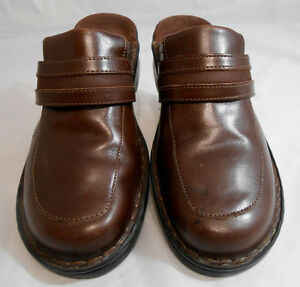 Clarks-Brown-Leather-Slip-On-Block-Heel-Mules-Strap-Shoes-Womens-Size-8-M