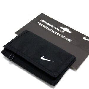 Nike-Noir-Basic-Swoosh-Portefeuille-Tri-Fold-Mans-Womans-Unisexe-Argent-Sac-a-main-nouveau