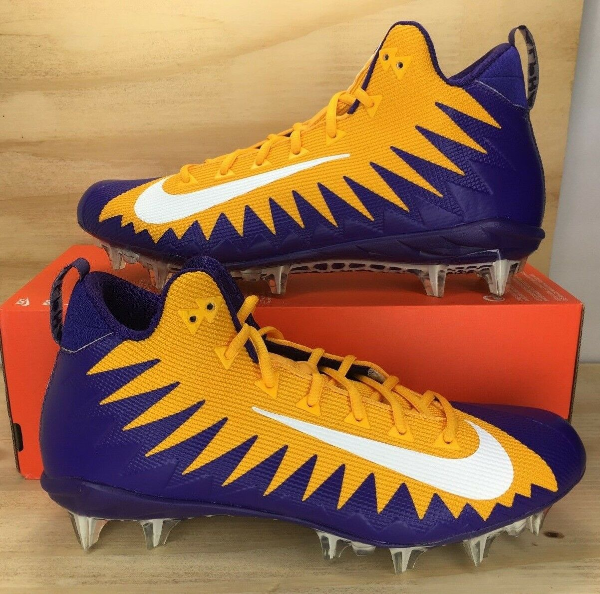 Cheap and beautiful fashion Nike Alpha Menace Pro Football Cleats LSU LA Tigers Purple Gold 884527-715 Price reduction