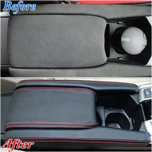 3 Pcs Leather Center Armrest Box Case Cover Trims For Honda Civic 2016-2018