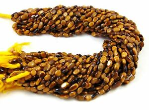 5-Strands-AAA-Natural-Tigers-Eye-Gemstone-Smooth-5x7-6x11mm-Oval-Beads-13-034-Long