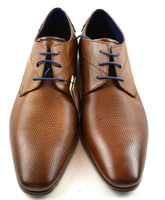 Bugatti Herren Business Schuhe cognac Leder in der Gr. 44