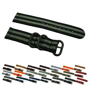 2 Piece Heavy Duty Ballistic Diver Solid/Stripe Nylon PVD Watch Strap