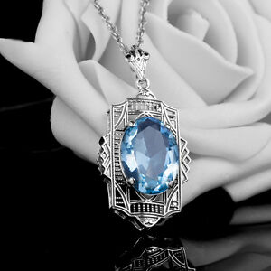 Fashion-Sapphire-925-Sterling-Silver-Victorian-Filigree-Pendant-birthday-present