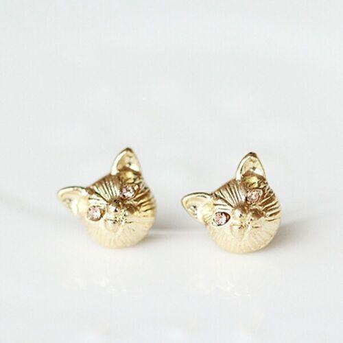 Women Lovely Fashion Studs Earring Ear Stud Silver Plated Cat Head Earring