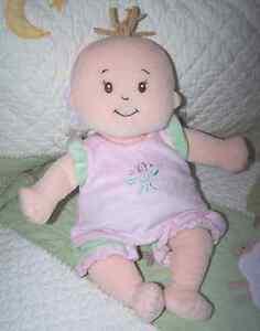 "Manhattan Toy Plush Pink & Green w Flowers STELLA Baby Doll NO Pacifier 14"" EUC"