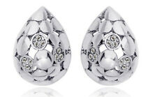 Elegant Silver Crystal Hollow Teardrops Bridal Studs Earrings E318