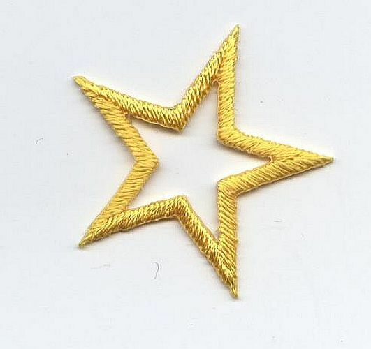 """Iron On Embroidered Applique Patch Open Star 1.25"""" Yellow 150023 SET 10 PCS"""