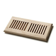 "Venice Wooden 4""x10"" White Oak Wood Vent Floor Self Rimming Unfinished Register"