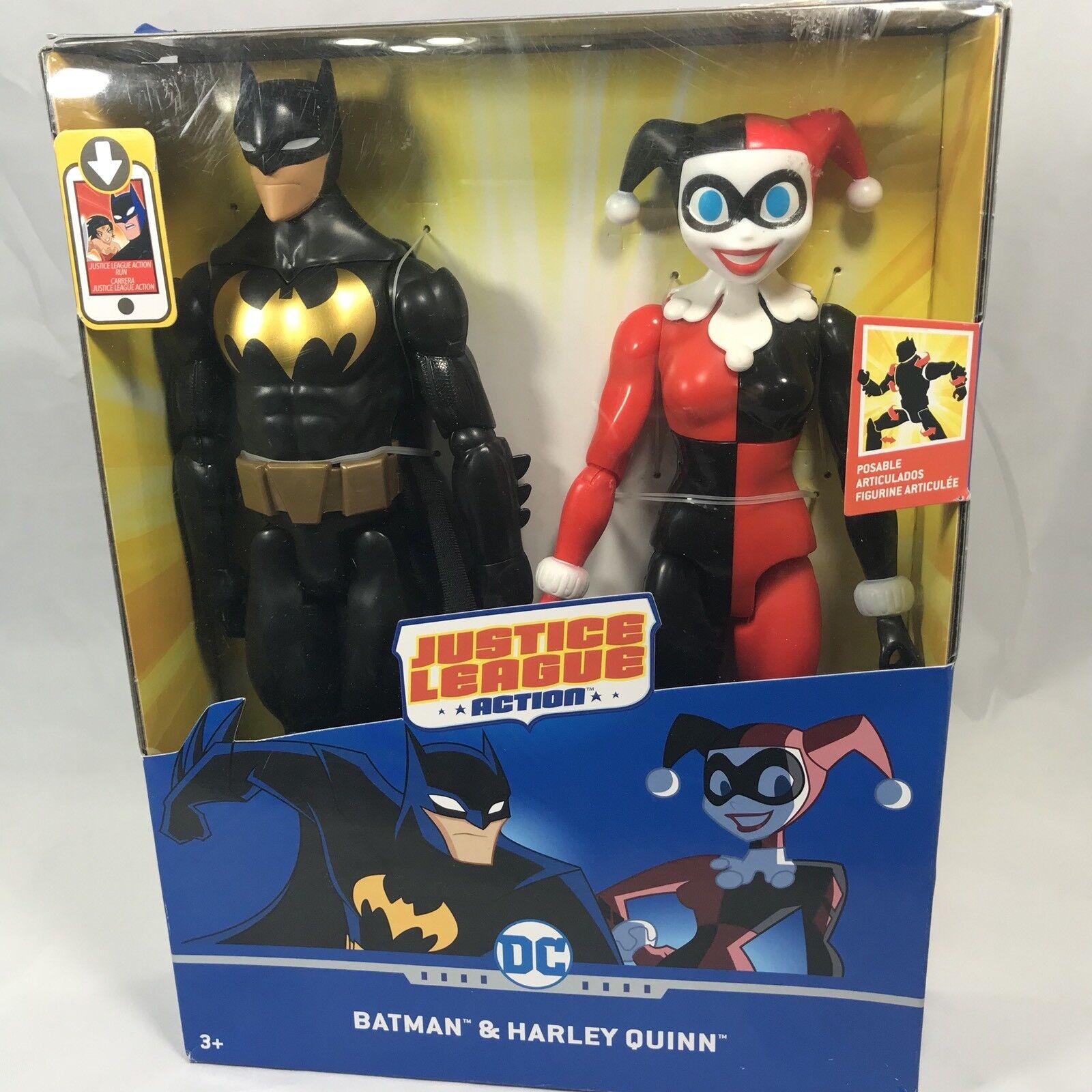 """DC Comics Justice League Action 12"""" Batman Harley Quinn Posable Flexible GIFT"""