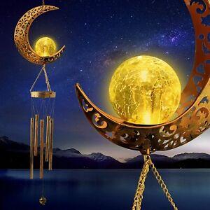 Solar Wind Chimes LED Moon Lights Crackle Ball Garden Decor Lamp Waterproof