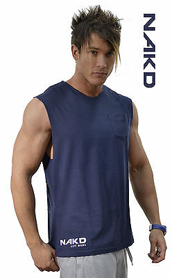 NAKD Sleeveless Tee, MUSCLE TANK TOP, T BACK, BODYBUILDING, MENS GYM SINGLET,