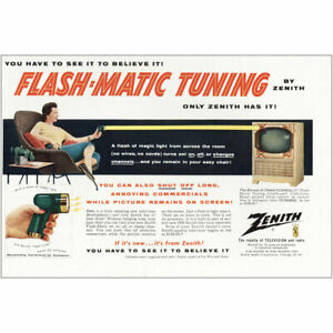 1955 Zenith Television: Flash-Matic Tuning Vintage Print Ad