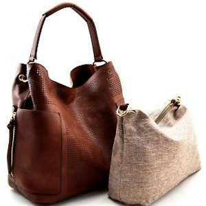 Le-Miel-Brown-Laser-Cut-Detail-Hobo-Handbag-Set
