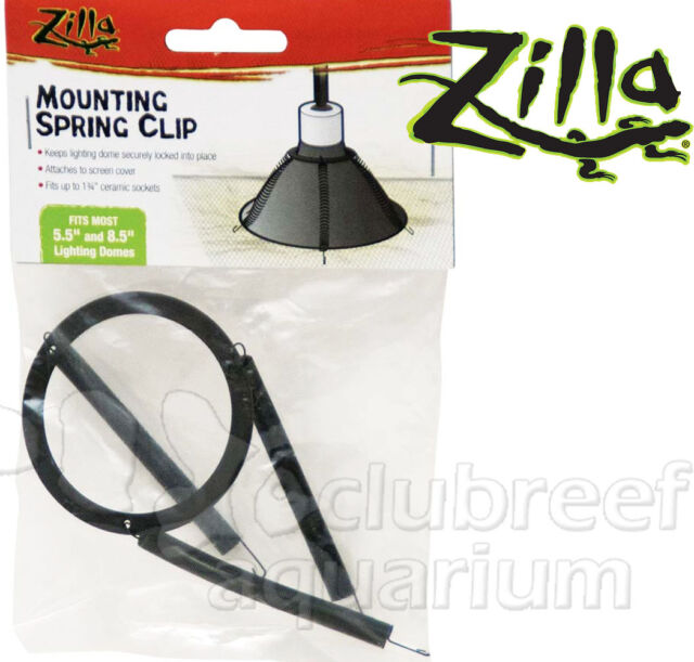 """Light Dome Spring Lighting Clip 5.5"""" & 8.5"""" Domes Reptile Screen Mounting Zilla"""