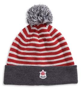5d6ffc5a98c 2019 Team Canada Winter Olympic Adult Striped Pom-pom Tuque Toque ...