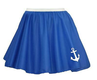"15"" Donna Blu Royal Naval Stampato Anchor Sailor Costume Skater Gonna-mostra Il Titolo Originale"