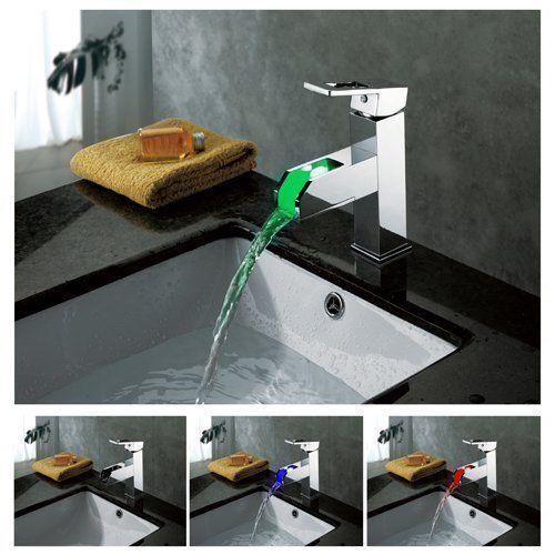 3 Couleur Changing DEL cascade chrome laiton Single poignée de salle de bains robinet d'évier