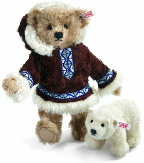STEIFF  MATOU TEDDY BEAR ESKIMO WITH POLAR BEAR  EAN 036019 10  MOHAIR BEAR