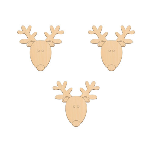 REINDEER HEAD Wooden Craft Shape 10.2x10cm BIRCH Decoration Embellishments Tags