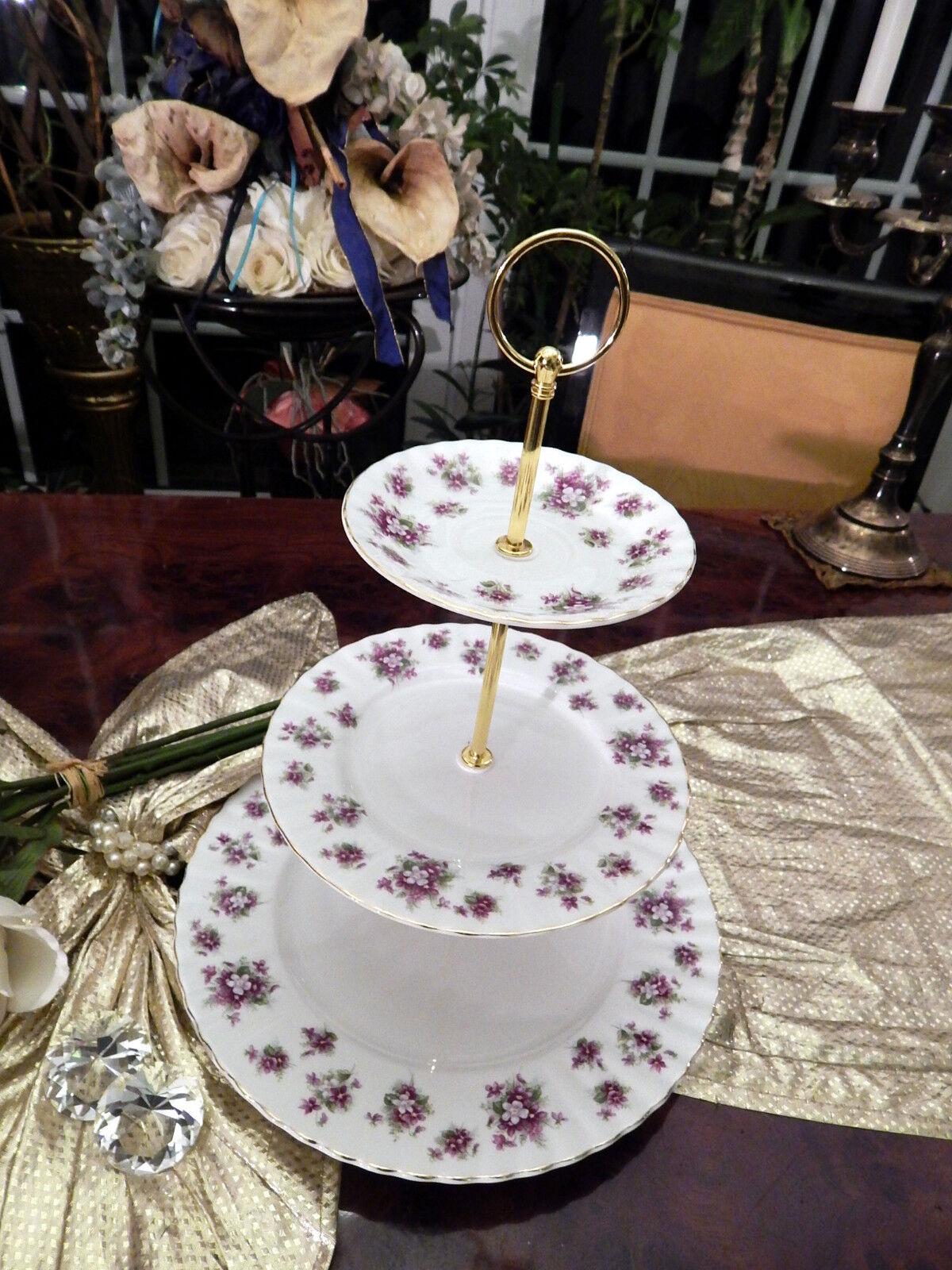 Edle große Etagere Tafelaufsatz 3stufig von Royal Albert England Sweet lilas     | Moderne Muster