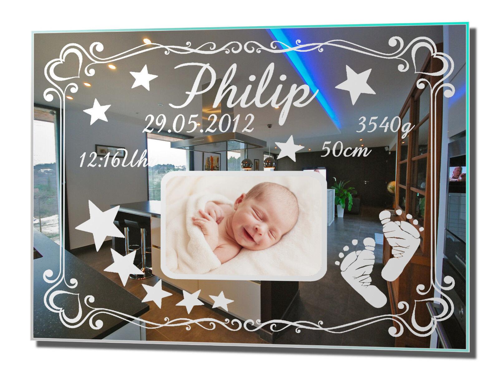 Fotospiegel baby 3 Miroir Avec Gravure Pour La Naissance Baptême Anniversaire Jeune Fille