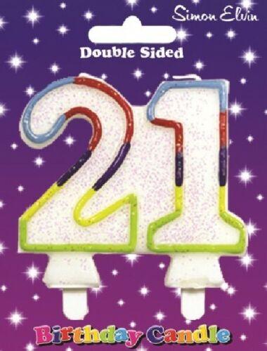 8 cm RAINBOW Glitter numéro 21 Bougie adultes 21st Fête D/'Anniversaire Gâteau Décoration