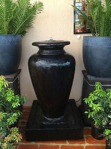 GRC-Outdoor-Garden-Patio-Water-Feature-Cascade-Carolina-Fountain-Urn-Black
