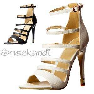 de8fd4884de Image is loading Ladies-Gladiator-Ankle-Strap-High-Heels-Strappy-Stiletto-