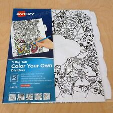 Avery Big Tab Color Your Own Reversible Paper Fashion Dividers 5 Tabs 5 Designs