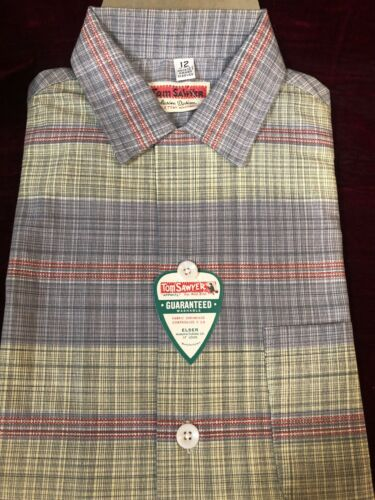 1950s Vintage TOM SAWYER Boy's Plaid Shirt w/ RAR… - image 1
