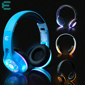 Wireless Bluetooth Headphone Sport Headset 3D Stereo Music LED Flashing Earphone