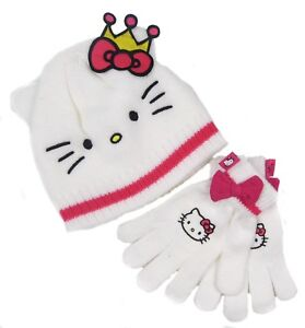 Hello-Kitty-Hat-Gloves-Set-White-And-Pink-8-10-Years-Only-Ex-Store-LAST-FEW-SALE