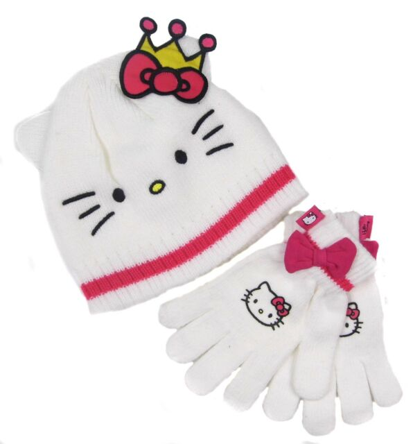 eb12301ef68 Hello Kitty Hat and Gloves White with Pink Crown 8-10 Years Only Ex Store